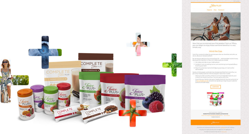Left: Photo of full Juice Plus+ product line. Right: Image shows part of a personalized customer email.